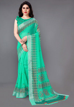 Printed Cotton Linen Saree in Teal Green