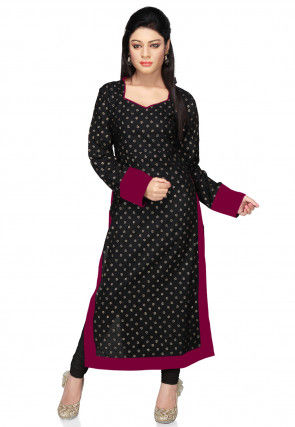 Printed Cotton Long Kurta in Black