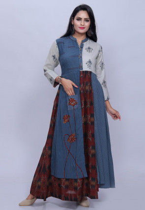 Printed Cotton Long Kurta in Blue and Red