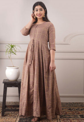 Printed Cotton Long Kurta in Fawn