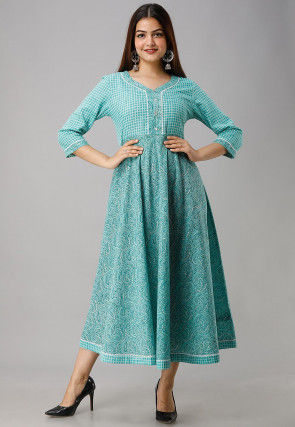 Printed Cotton Long Kurta in Light Blue