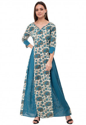 Printed Cotton Long Kurta in Off White and Teal Blue