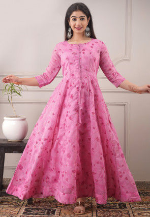 Printed Cotton Long Kurta in Pink