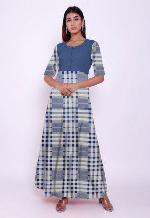 Printed Cotton Long Kurta Set in White and Blue