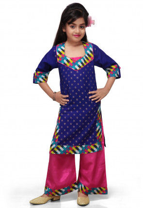 Printed Cotton Long Kurta with Palazzo in Navy Blue