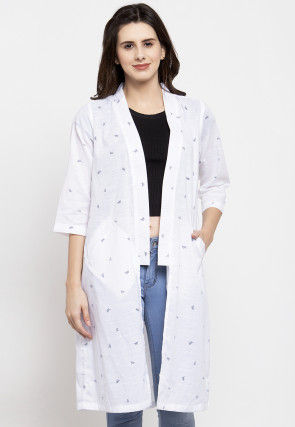 Printed Cotton Long Shrug in White
