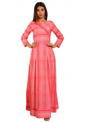 Printed Cotton Maxi Dress in Coral Pink