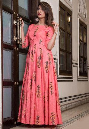 Printed Cotton Maxi Dress in Peach