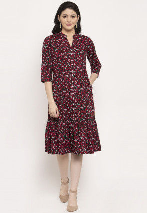 Printed Cotton Midi Dress in Black and Maroon