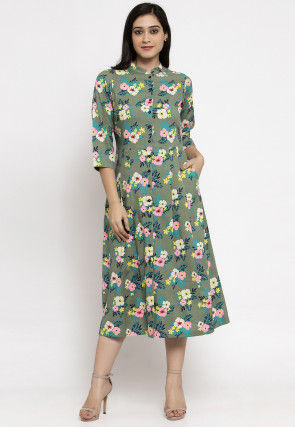 Printed Cotton Midi Dress in Dusty Green