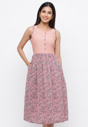 Printed Cotton Midi Dress in Light Purple