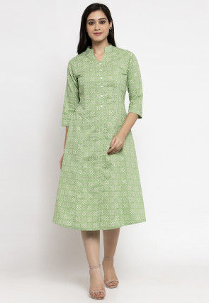 Printed Cotton Midi Dress in Pastel Green
