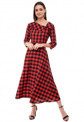 Printed Cotton Midi Dress in Red and Black
