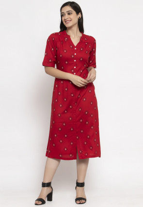 Printed Cotton Midi Dress in Red