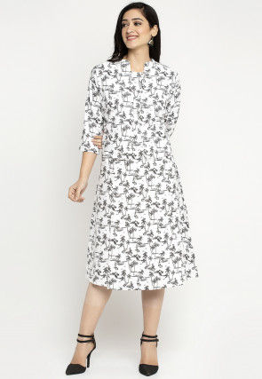 Printed Cotton Midi Dress in White