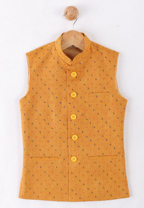Printed Cotton Nehru Jacket in Mustard