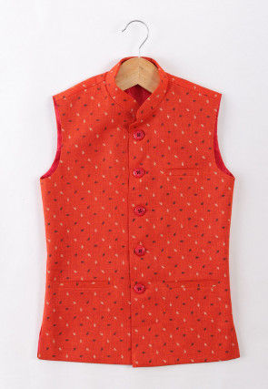 Printed Cotton Nehru Jacket in Red