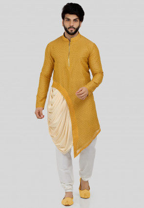Printed Cotton One Side Draped Kurta Set in Mustard and Cream
