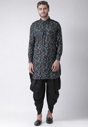 Printed Cotton Paithani Suit in Brown and Blue