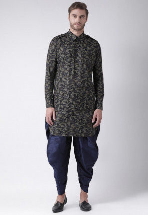 Printed Cotton Paithani Suit in Shaded Olive Green and Grey