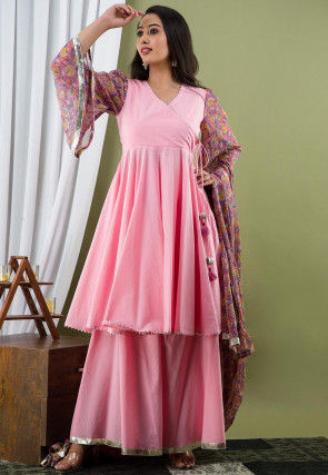 Printed Cotton Pakistani Suit in Baby Pink