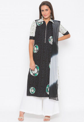 Printed Cotton Pakistani Suit in Black and Off White