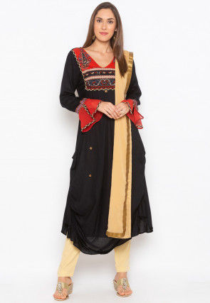 Printed Cotton Pakistani Suit in Black