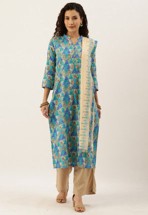 Printed Cotton Pakistani Suit in Blue