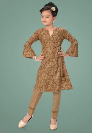 Printed Cotton Pakistani Suit in Brown