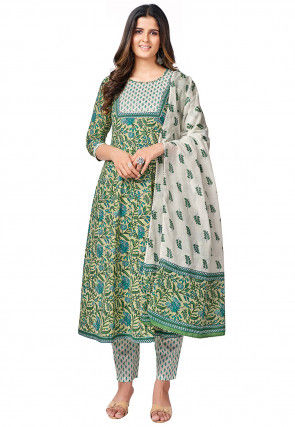 Printed Cotton Pakistani Suit in Cream and Green