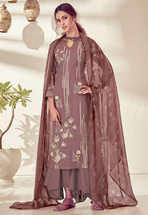 Printed Cotton Pakistani Suit in Dusty Purple