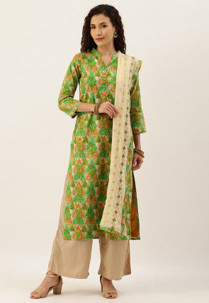 Printed Cotton Pakistani Suit in Green