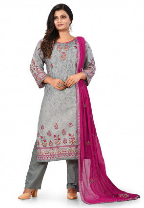 Printed Cotton Pakistani Suit in Grey