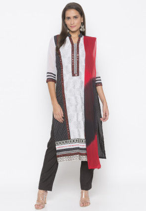 Printed Cotton Pakistani Suit in in Black and White