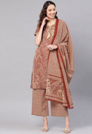 Printed Cotton Pakistani Suit in Light Brown