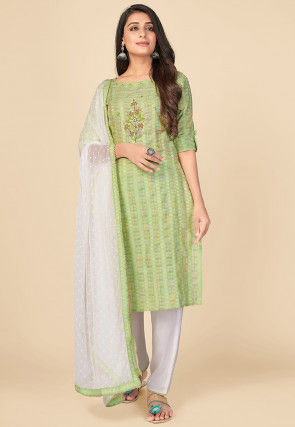 Printed Cotton Pakistani Suit in Light Green