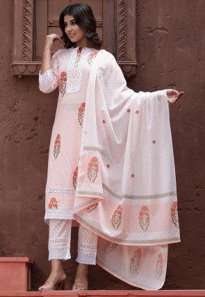 Printed Cotton Pakistani Suit in Light Peach