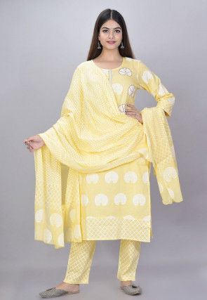 Printed Cotton Pakistani Suit in Light Yellow