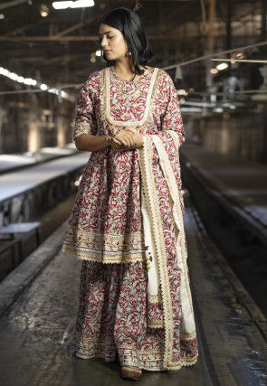 Printed Cotton Pakistani Suit in Maroon
