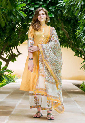 Printed Cotton Pakistani Suit in Mustard