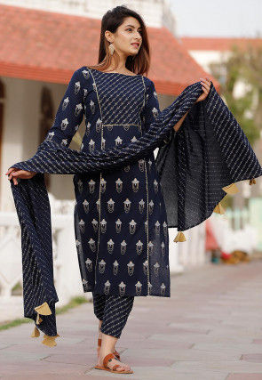 Printed Cotton Pakistani Suit in Navy Blue