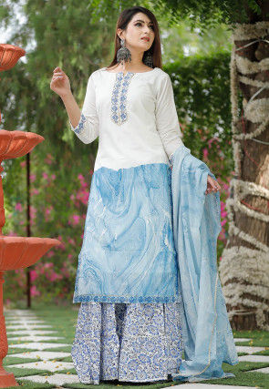 Printed Cotton Pakistani Suit in Off White and Sky Blue