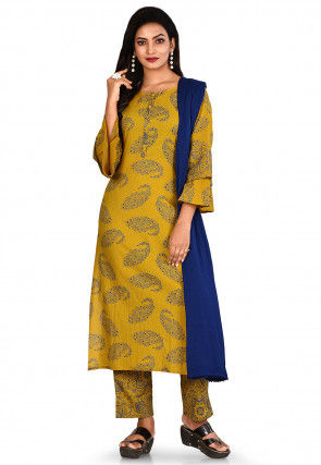 Printed Cotton Pakistani Suit in Olive Green