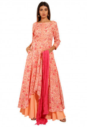 Printed Cotton Pakistani Suit in Peach