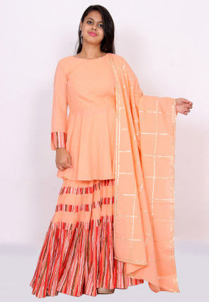 Printed Cotton Pakistani Suit in Peach