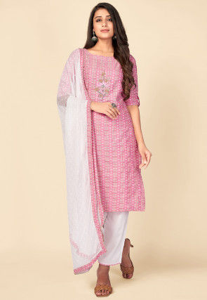 Printed Cotton Pakistani Suit in Pink