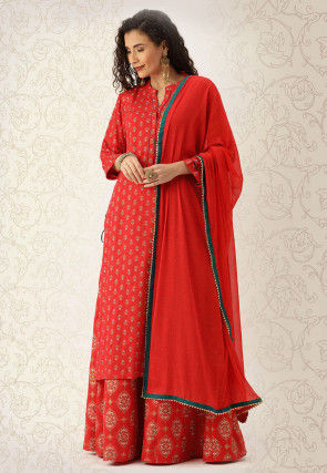 Printed Cotton Pakistani Suit in Red