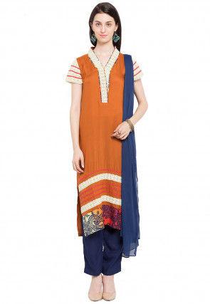 Printed Cotton Pakistani Suit in Rust