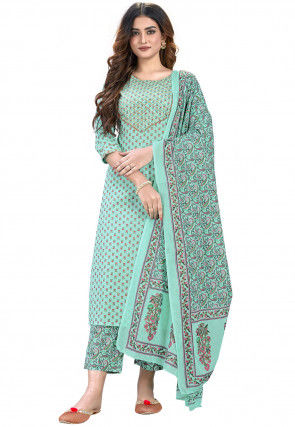 Printed Cotton Pakistani Suit in Sea Green