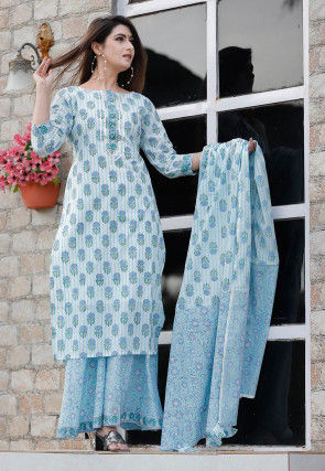 Printed Cotton Pakistani Suit in Sky Blue and Off White